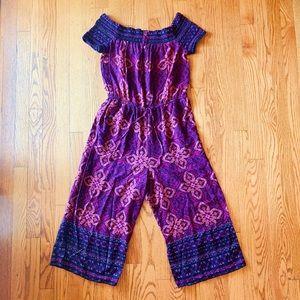 Purple boho patterned jumpsuit romper